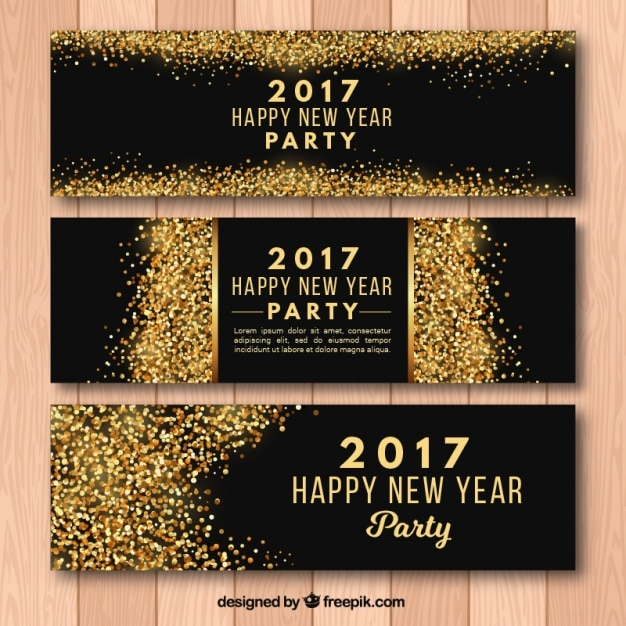New year party 2017 banners with golden glitter  Free Vector