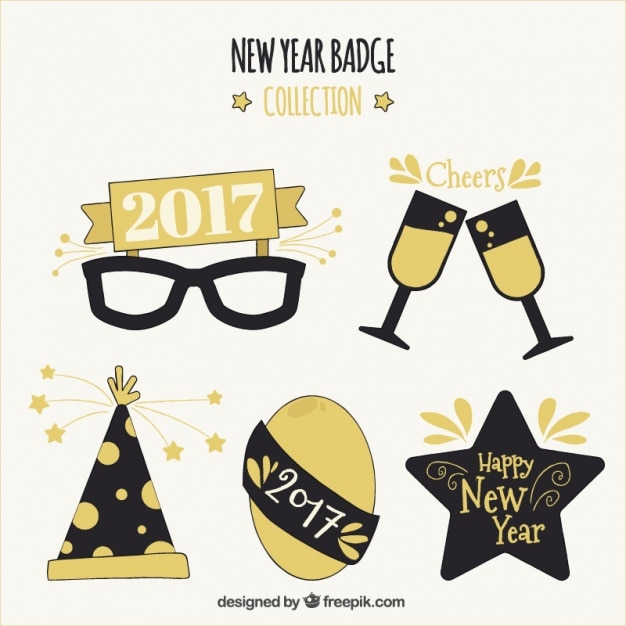 New year party 2017 elements set Vector | Free Download
