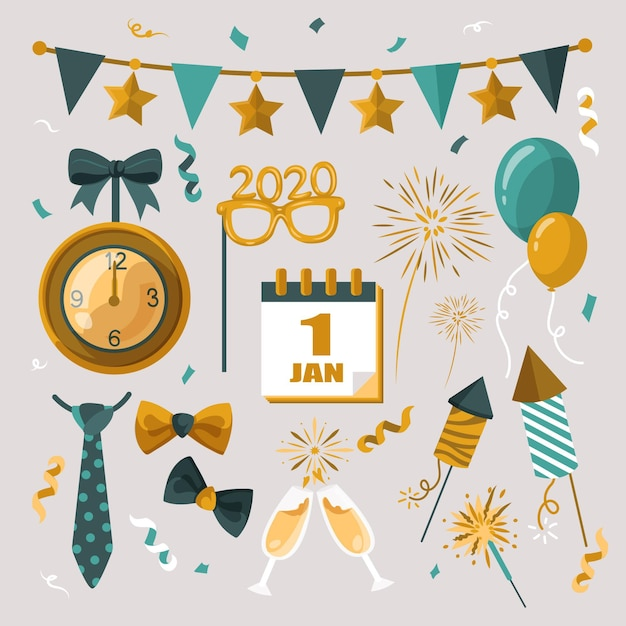 New year party balloons and fireworks elements Free Vector