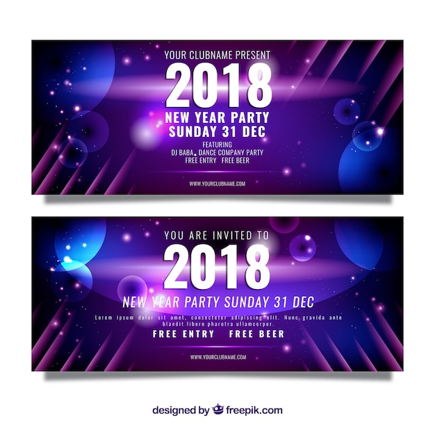 new year party banner in realistic design free vector