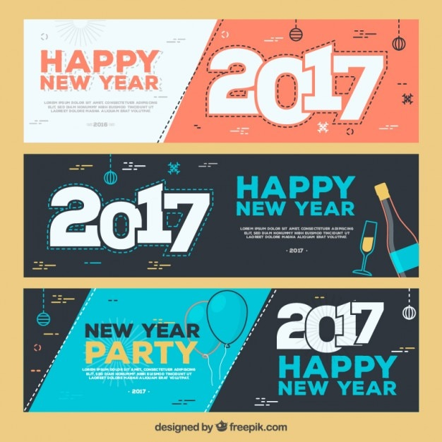 new year party banner set premium vector