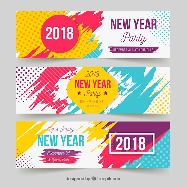 New year party banners in bright colours Free Vector