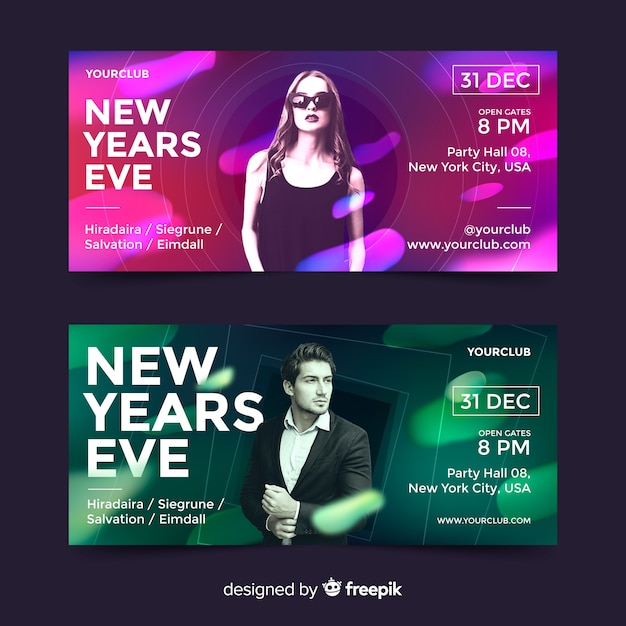New year party banners with photo Free Vector