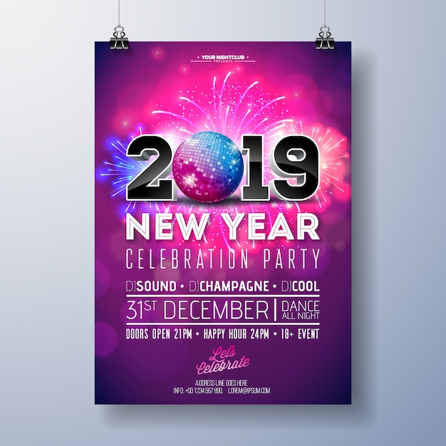 New year party celebration poster template illustration with 3d 2019 number, disco ball Premium Vector