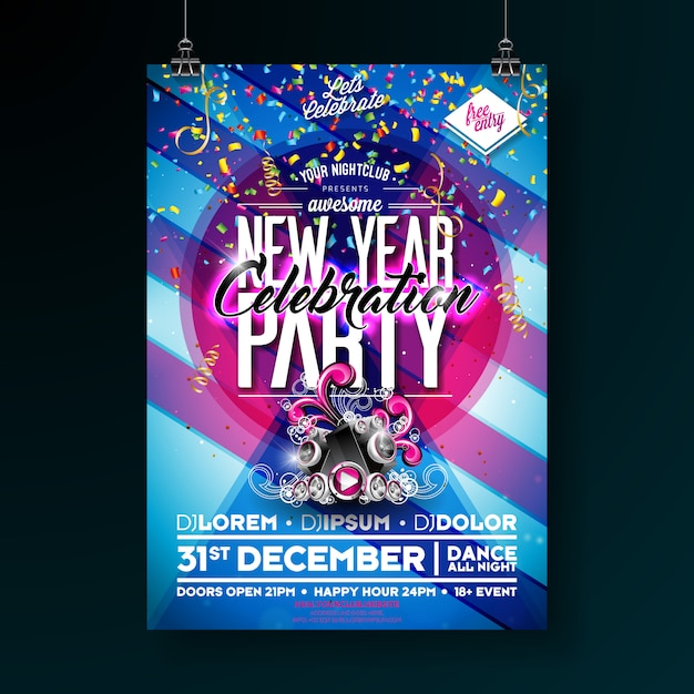New year party celebration poster template illustration Premium Vector