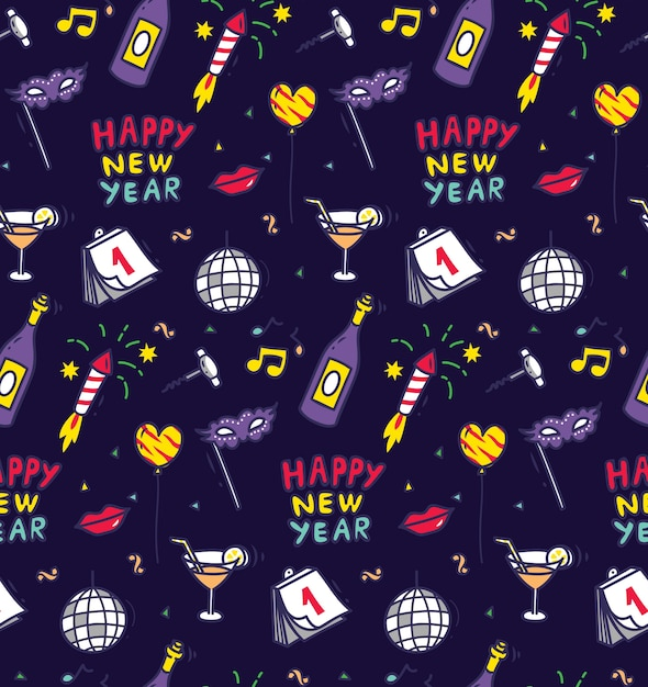 New year party doodle seamless background Premium Vector