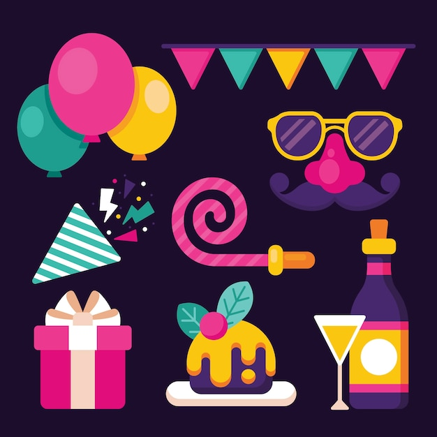 New year party element collection in flat design Free Vector