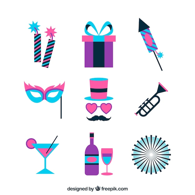 New year party element collection in pink and\ blue