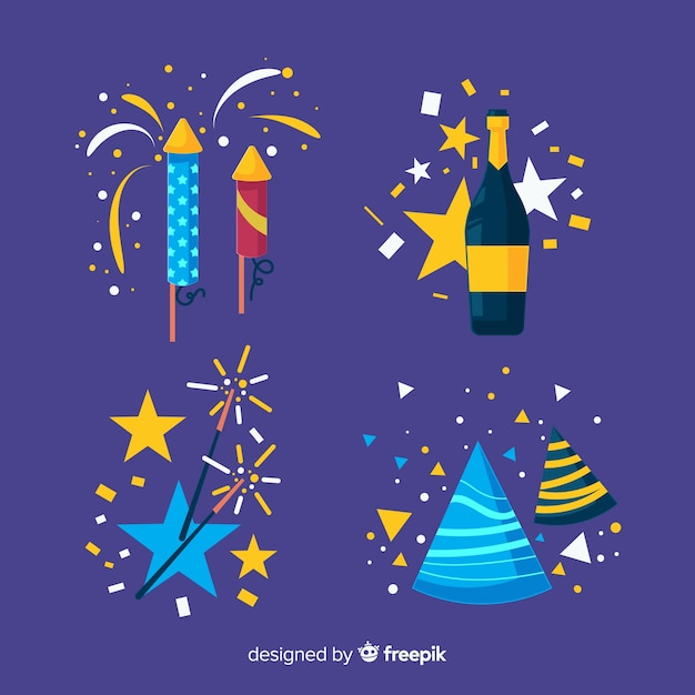 New year party elements collection Free Vector