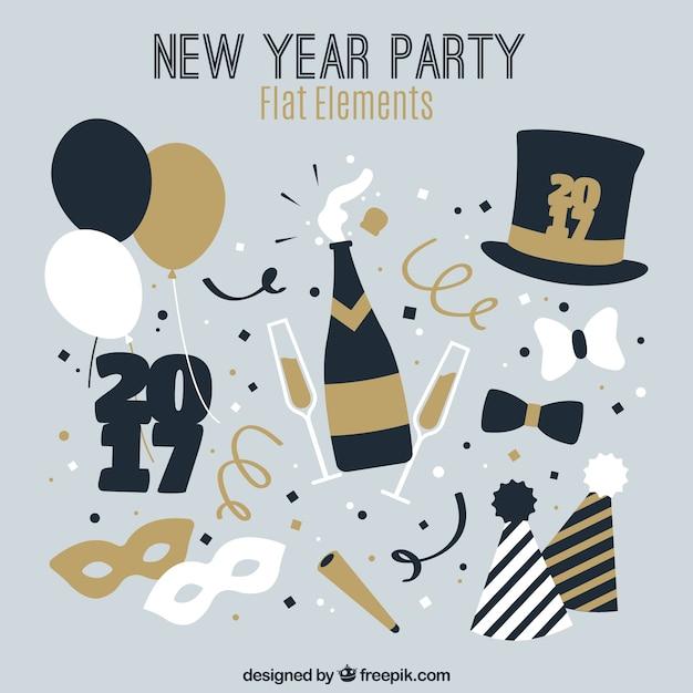 Новые элементы год партии в стиле винтаж Бесплатные векторы