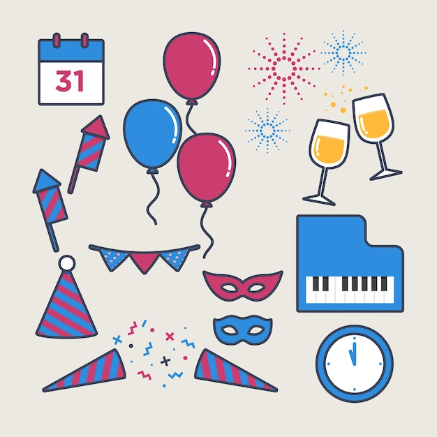 New year party elements modern fun Premium Vector