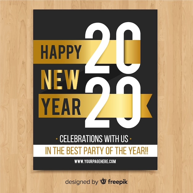 New year party flyer in gold Free Vector
