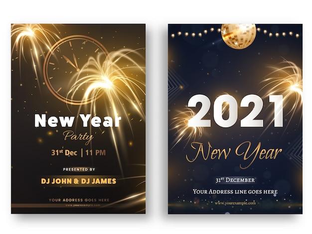 Новогодний флаер или пригласительный билет с деталями события Premium векторы