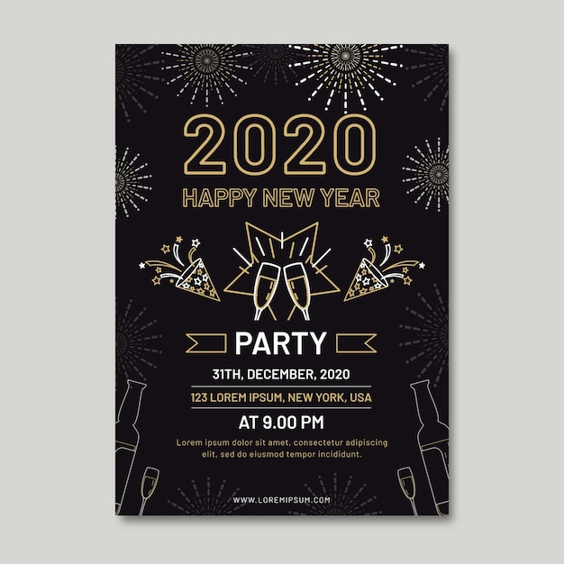 New year party flyer template in outline style Free Vector