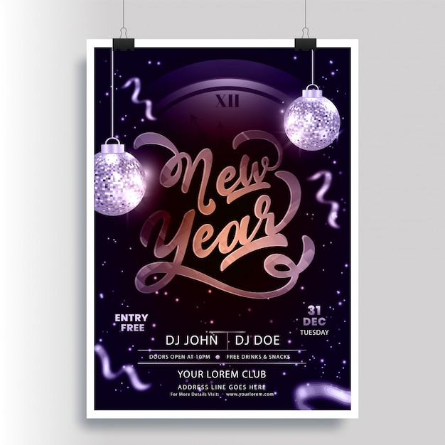 New year party flyer with clock and hanging shiny disco balls Premium Vector