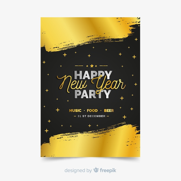 New year party flyer Free Vector