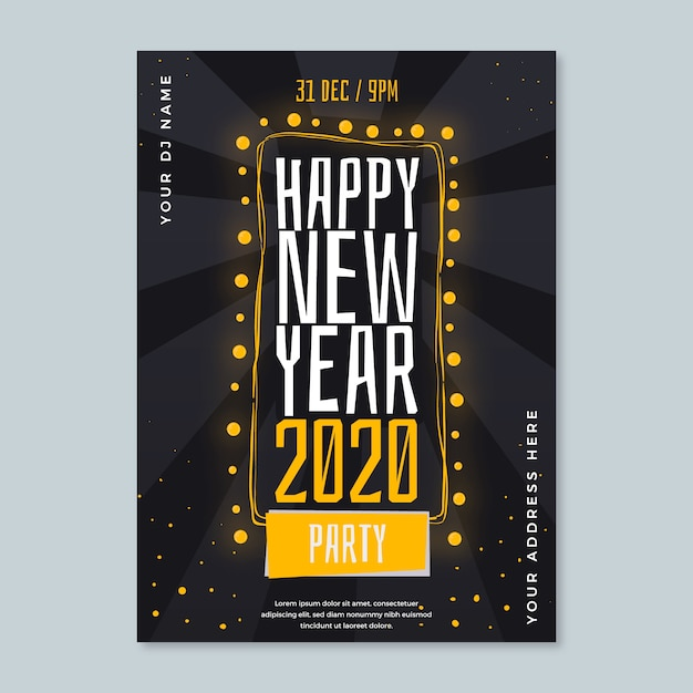 New year party hand-drawn poster template Free Vector