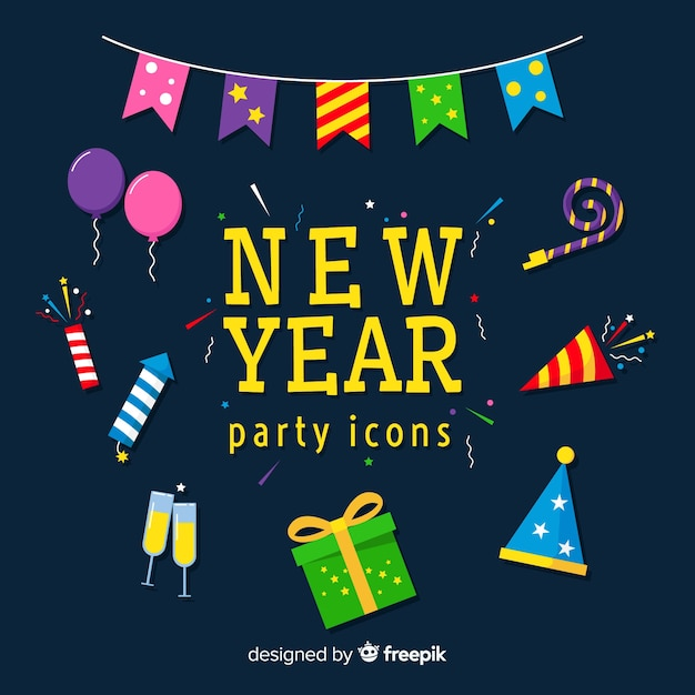New year party icons collection Free Vector