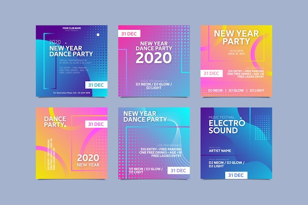 New year party instagram post collection Free Vector