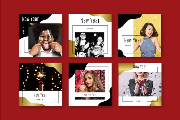 New year party instagram post set Free Vector