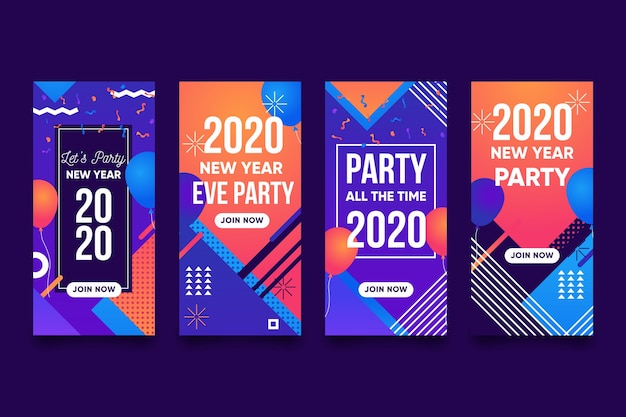 New year party instagram story set Free Vector