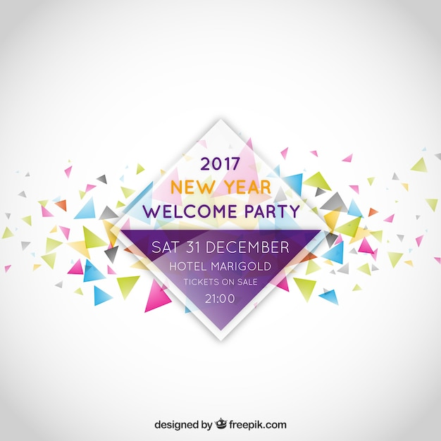 new year party invitation label free vector