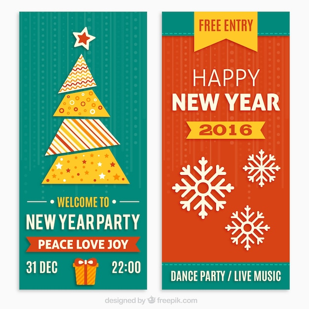 new year party invitations in flat design premium vector