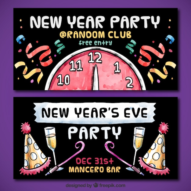 new year party invitations in hand painted style vector | free, Party invitations
