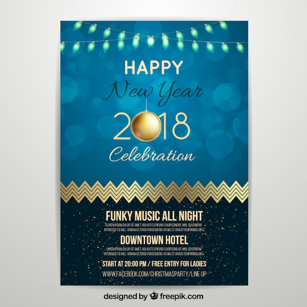 New year party poster 2018 Free Vector
