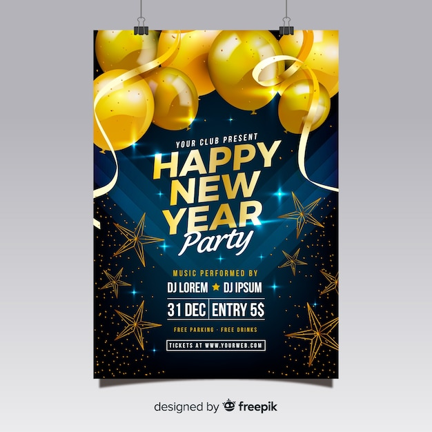 New year party poster 2019  Free Vector