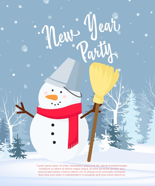 New year party poster design Free Vector