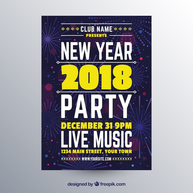 New year party poster in flat design Free Vector