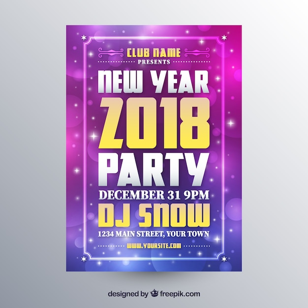New year party poster in purple tones Free Vector