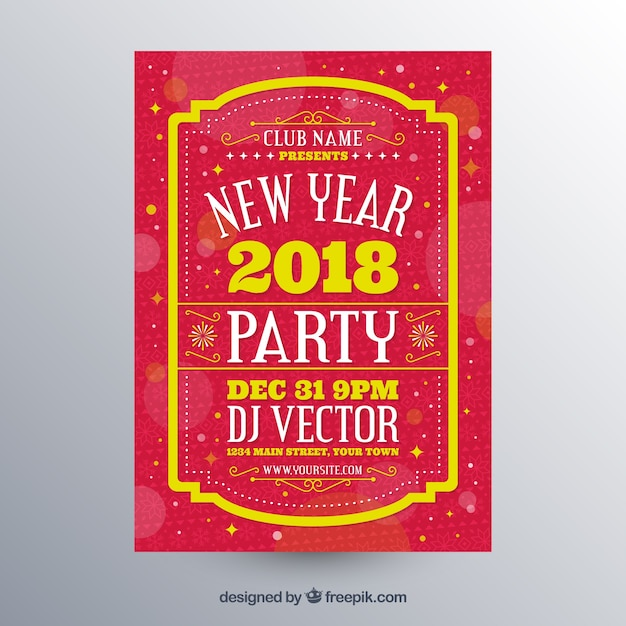 New year party poster in red Free Vector