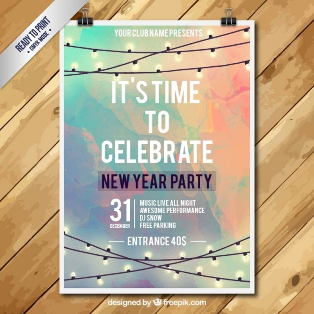 New year party poster in watercolor style Free Vector