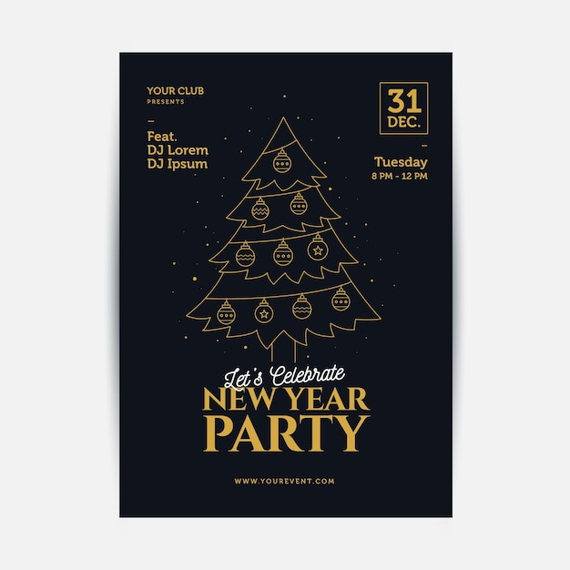 New year party poster template in outline style Free Vector