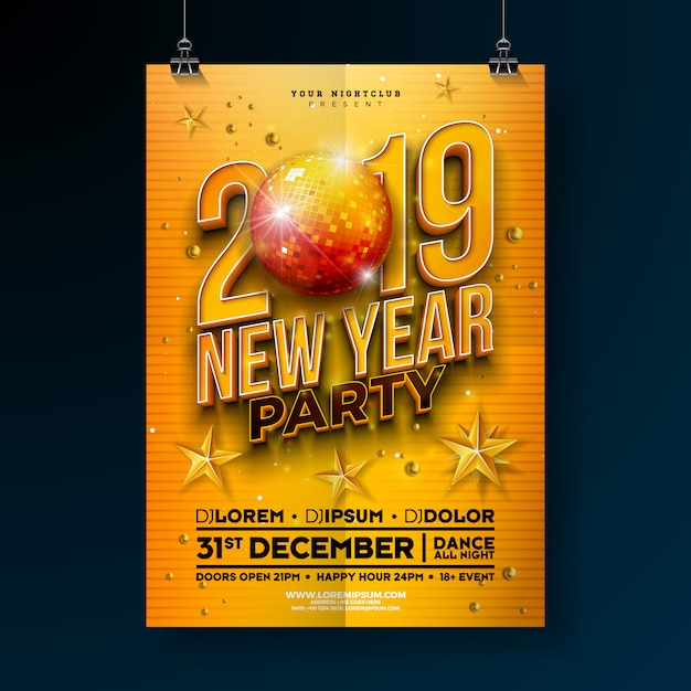New year party poster template with 3d 2019 number Premium Vector