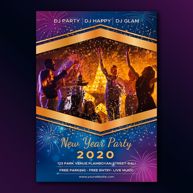 New year party poster template with photo Free Vector