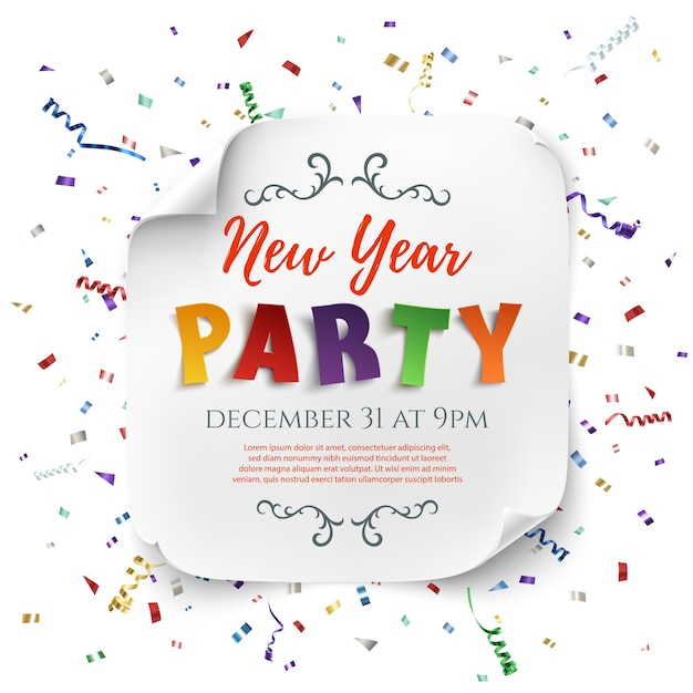 New year party poster template with ribbons and confetti isolated on white background. white, curved, paper banner. Premium Vector