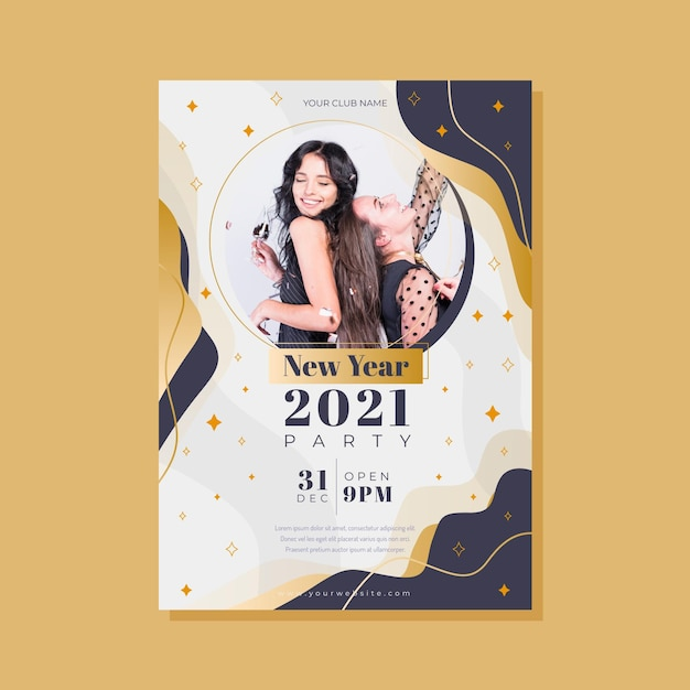 Шаблон плаката новогодней вечеринки Premium векторы