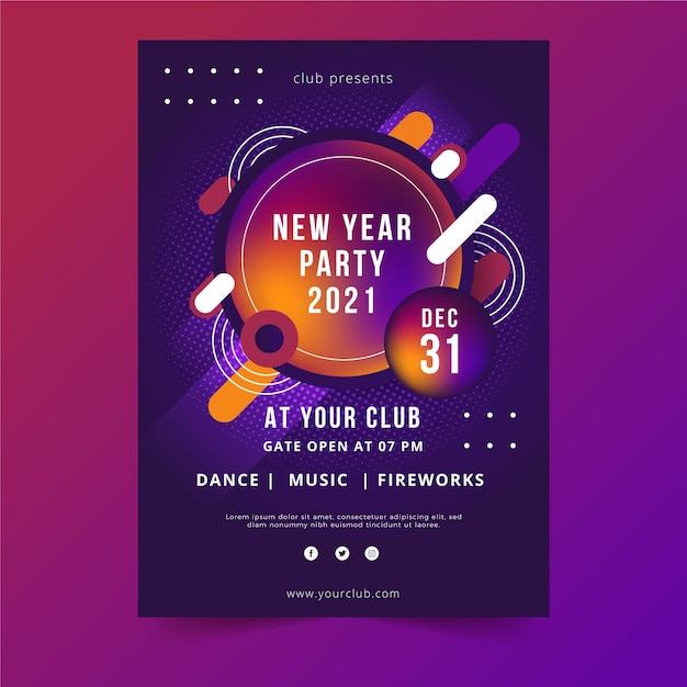 New year party poster template Premium Vector