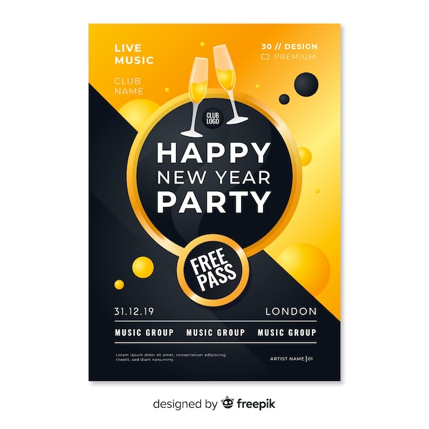 New year party poster with free pass and champagne Free Vector