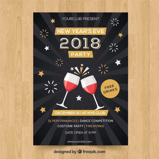 New year party poster with wine glasses and\ fireworks