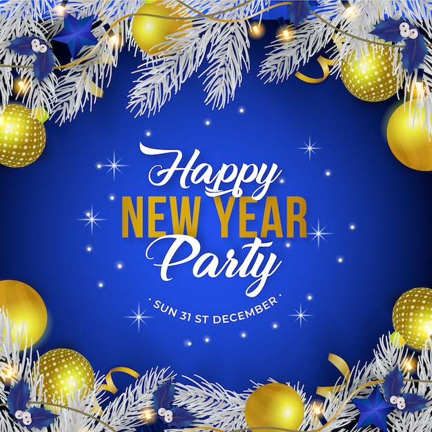 New year party poster Free Vector
