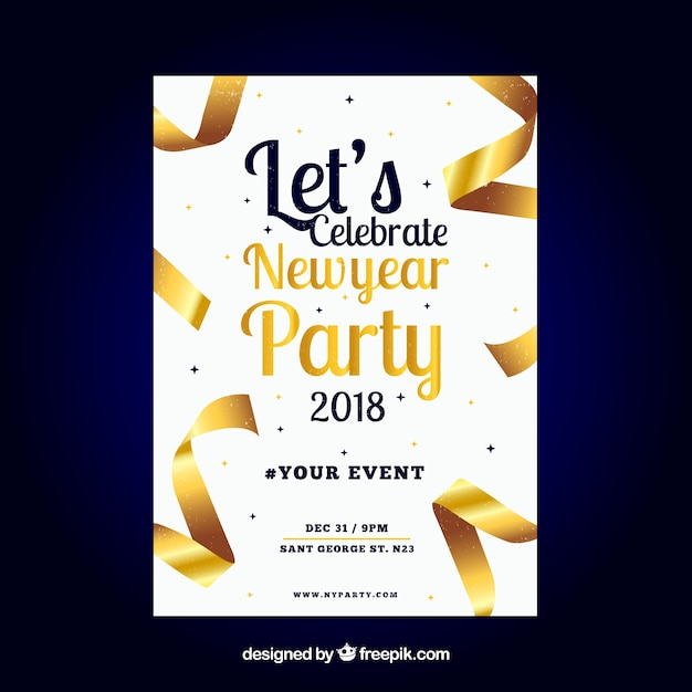 New year party poster Vector | Free Download