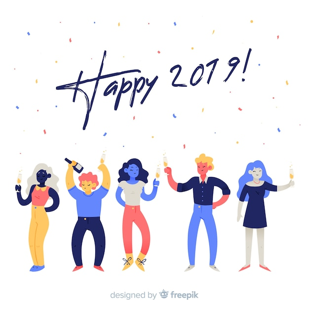 New year partying people background Free Vector