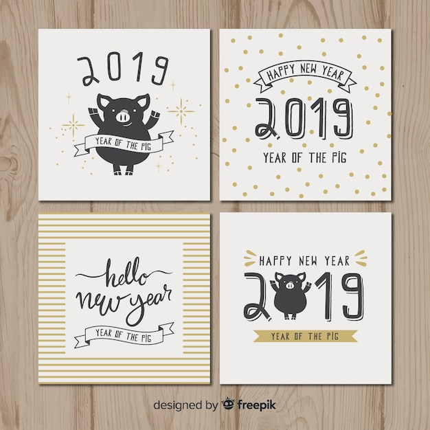 new year pig cards pack free vector