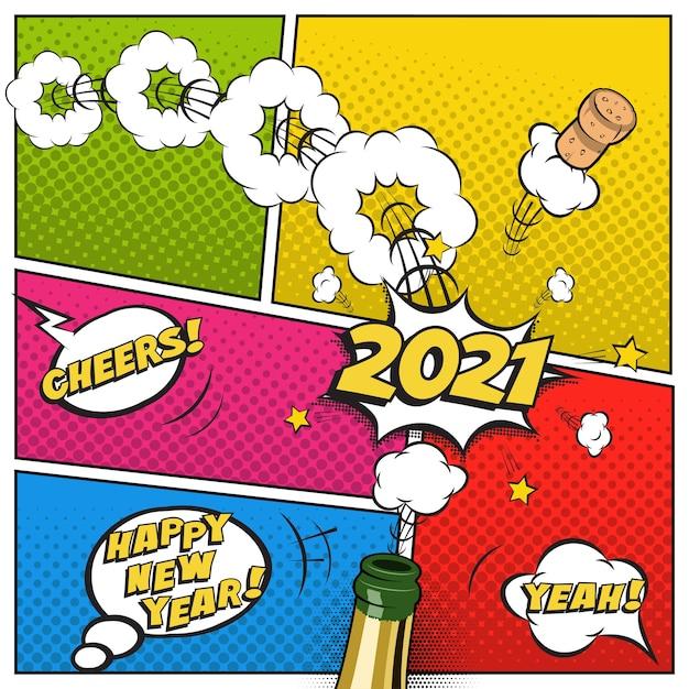 新年のはがきやグリーティングカードテンプレート、シャンパンボトルと空飛ぶコルクのコミックスタイルでお祝いのレトロなデザイン。 Premiumベクター