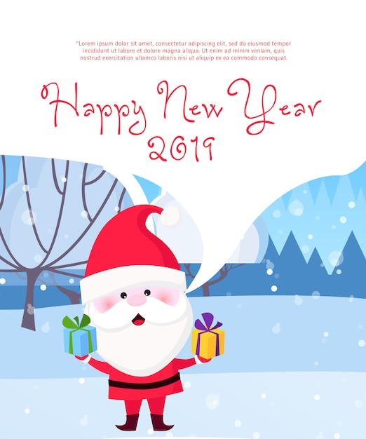 New year poster design Free Vector