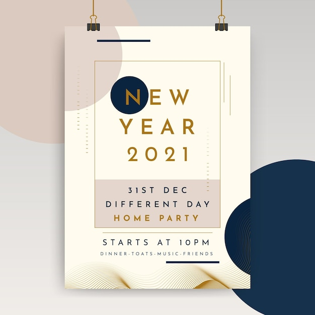 New year poster template Free Vector